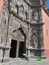 Worker Man Cleaning Landmark Historic Mexican Carved Gray Stone Catholic Cathedral Building Outside Architecture Royalty Free Stock Photo