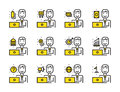 Worker man with laptop outline icon set. Online Marketing, shopp