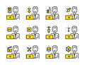 Worker man with laptop Worker man with laptop outline icon set. Creative work and social media. icon set. Creative work and socia