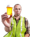 Worker and Medication Royalty Free Stock Photo