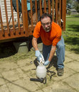 Worker Mixing Weed Killer For A Spray Job Royalty Free Stock Photo