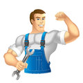 Worker muscular man in work clothes mechanic or handyman in work clothes holding a spanner vector illustration Stock Photography