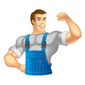 Worker muscular man in work clothes vector illustration Stock Photo