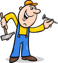 Worker with nail cartoon illustration of hammer and doing renovation Royalty Free Stock Photos