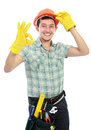 Worker with ok sign Stock Photo