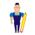 Worker with pencil illustration of a on a white background Stock Image