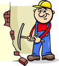 Worker with pick cartoon illustration of man or workman demolishing brick wall a axe Stock Photo