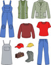 Worker, plumber man, woman fashion set Stock Photography