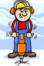Worker with pneumatic hammer cartoon illustration of man or workman Royalty Free Stock Image