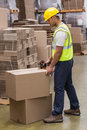 Worker preparing goods for dispatch in warehouse Stock Images