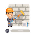 Worker Priming Wall Royalty Free Stock Photo