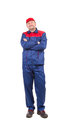 Worker in red blue workwear isolated on a white background Stock Photo