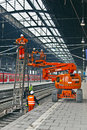 Worker repair the catenary in the station Royalty Free Stock Photo