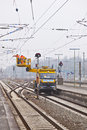 Worker repair the catenary wiesbaden germany february on february in wiesbaden germany equipment is rented by boehls Royalty Free Stock Photography
