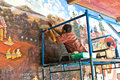 Worker restores the painting in the grand palace Royalty Free Stock Photos