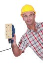 Worker with a sander an electric Royalty Free Stock Photos