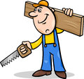 Worker with saw cartoon illustration of and plank doing renovation Stock Photos