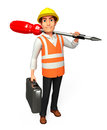 Worker with screw driver d rendered illustration of Stock Images