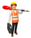 Worker with screw driver d rendered illustration of Royalty Free Stock Photos