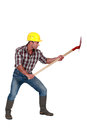 Worker with a shovel construction Royalty Free Stock Photography