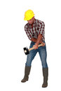 Worker with a sledgehammer manual Stock Image