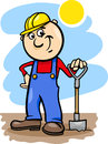 Worker with spade cartoon illustration of man or workman or shovel Royalty Free Stock Images