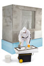 Worker spreading a putty on an insulation panel cement Stock Photography