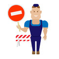Worker with stop sign illustration of a on a white background Stock Images