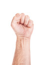 Worker on strike labor movement workers union concept with male fist isolated white background raised in the air fighting for Royalty Free Stock Image
