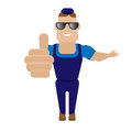 Worker in sunglasses illustration of a on a white background Royalty Free Stock Photo