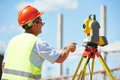 Worker with theodolite builder transit equipment at construction site outdoors during surveyor work Stock Photography