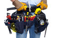 Worker with a tool belt. Royalty Free Stock Photo