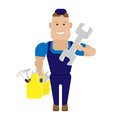 Worker with tools illustration of a on a white background Royalty Free Stock Images