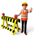 Worker with traffic poles d rendered illustration of Stock Image