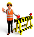Worker with traffic poles d rendered illustration of Stock Images