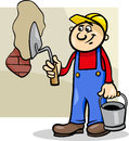 Worker with trowel cartoon illustration of man or workman plaster brick wall Stock Photo