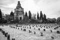 Worker village of Crespi d'Adda: the graveyard. Black and white Royalty Free Stock Photo