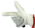 Worker wearing leather work glove pointing to the left isolated on white Stock Photo