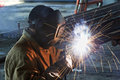 Worker Welding With Electric A...