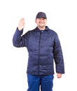 Worker in winter workwear isolated on a white background Stock Photos