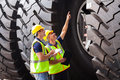 Workers checking tires shipping company industrial before exporting Stock Image