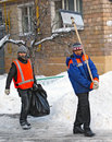 Workers clean snow Stock Photography