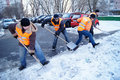 Workers clean snow Royalty Free Stock Photo