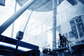 The workers are cleaning the glass curtain wall Royalty Free Stock Photo