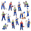 Workers from the construction industry with various tools isolated Stock Images