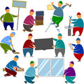 Workers Loaders Stands Objects Royalty Free Stock Photo