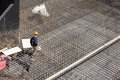 Workers make reinforcement for concrete foundation metal the Royalty Free Stock Photos