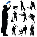 Workers in various trades and tools vector illustration Royalty Free Stock Photo