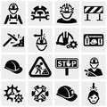 Workers vector icons set on gray isolated grey background eps file available Royalty Free Stock Photos