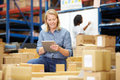 Workers in warehouse preparing goods for dispatch female Stock Photo